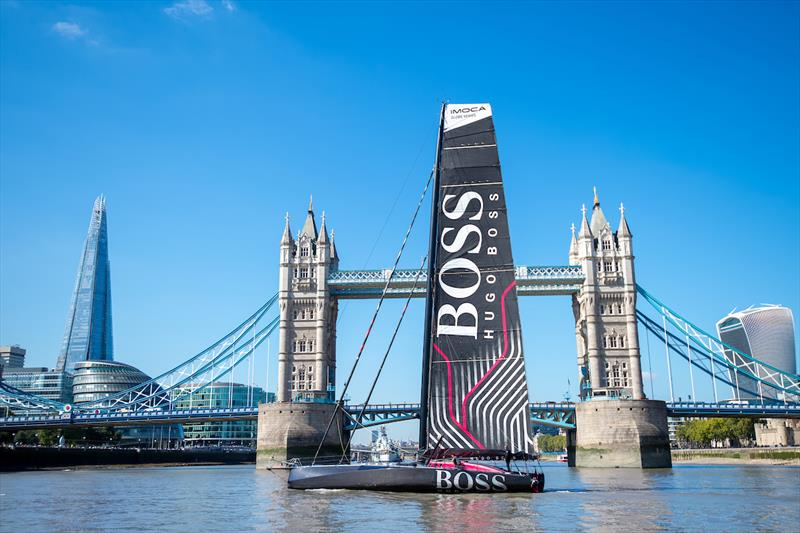Alex Thomson's new HUGO BOSS yacht launched in London by Poppy Delevingne