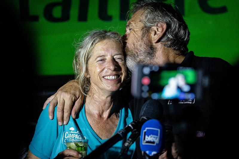 Campagne de France skippers Miranda Merron and Halvard Mabire talk to media at pontoon after taking 23rd place of the Imoca category of the Transat Jacques Vabre on November 13, in Bahia, Brazil. - photo © Jean-Marie Liot / Alea