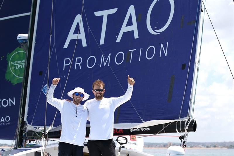 Leyton skippers Fabien Delahaye and Sam Goodchild celebrate taking 2nd place in the Class 40 category of the Transat Jacques Vabre on November 14, in Bahia, Brazil. - photo © Jean-Marie Liot / Alea