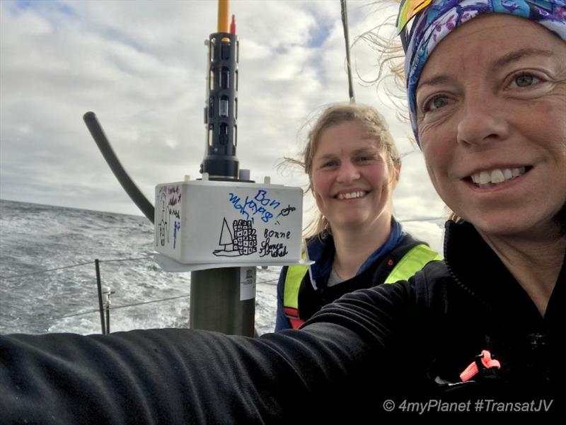 Alexia Barrier and Joan Mulloy with the Argo float that they dropped during the 2019 Transat Jacques Vabre - photo © Alexia Barrier