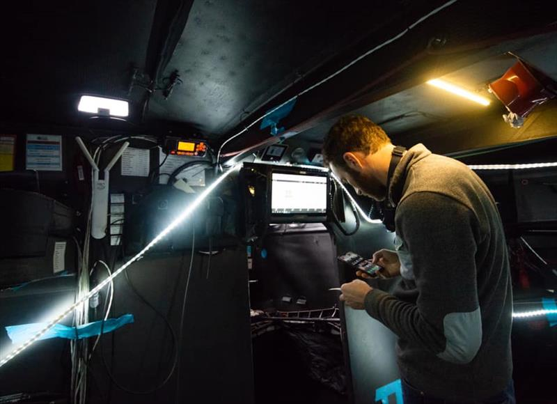 Lighting is a significant issue working below on repairs - Hugo Boss - Keel and boat repairs following TJV incident - November 4, 2019 - Canary Islands - photo © Alex Thomson Racing