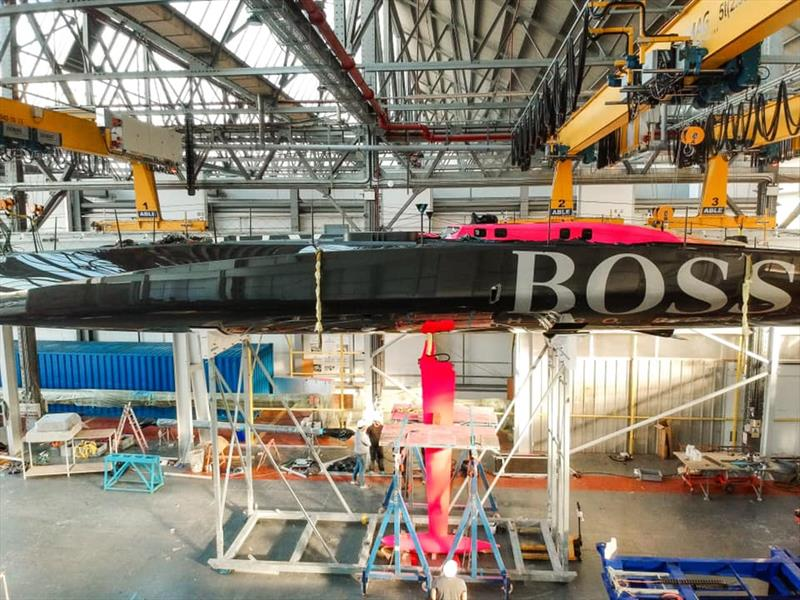 Hugo Boss full with coachroof and solar panels partially removed - Keel and boat repairs following TJV incident - November 4, 2019 - Canary Islands - photo © Alex Thomson Racing