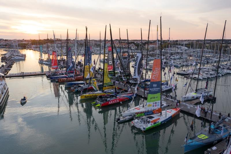 General view of the boats at the pontoons, taken by a drone, on the Vendee Globe race village in les Sables d'Olonne, France, on October 18, 2020. photo copyright Jean-Marie LIOT / Alea taken at  and featuring the IMOCA class