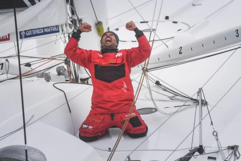 Prysmian Group, skipper Giancarlo Pedote (ITA)  is pictured during finish of the Vendee Globe sailing race, on January 28, 2021. - photo © Yvan Zedda