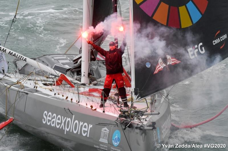 Seaexplorer - YC de Monaco, skipper Boris Herrmann (GER), is pictured during finish of the Vendee Globe sailing race, on January 28, 2021. - photo © Yvan Zedda