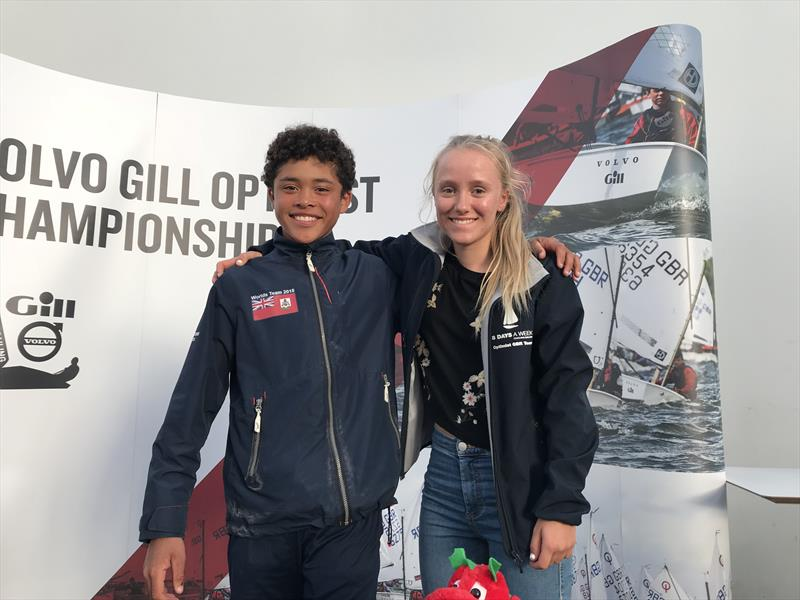 Volvo Gill Optimist British Nationals overall winner Christian Ebbin from Bermuda and British champion Emily Mueller - photo © Andy Green / www.greenseaphotography.co.uk
