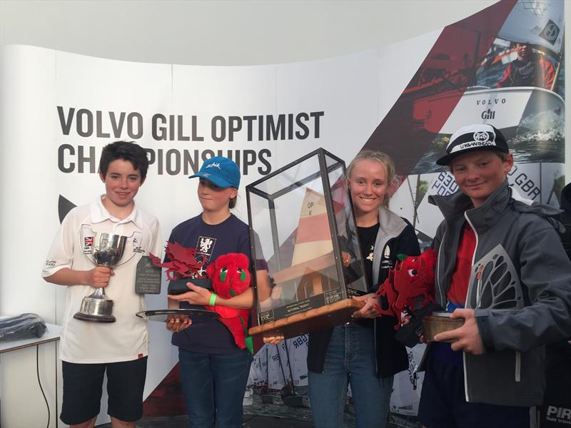 Volvo Gill Optimist British Nationals winners, British senior and junior gold fleet winners, Josh Lyttle, Arwen Fflur, Emily Mueller, Will Pank - photo © IOCA UK