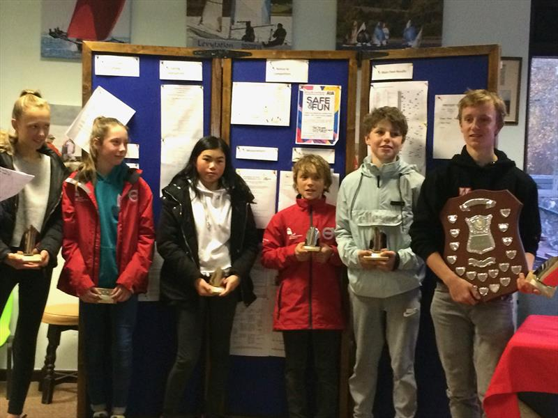 Top three girls and three boys in Main Fleet in the Optimist Winter Championship at Carsington - photo © Valeria Sesto