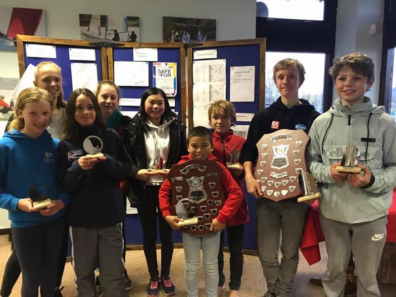 Trophy winners in the Optimist Winter Championship at Carsington - photo © Claire Mueller