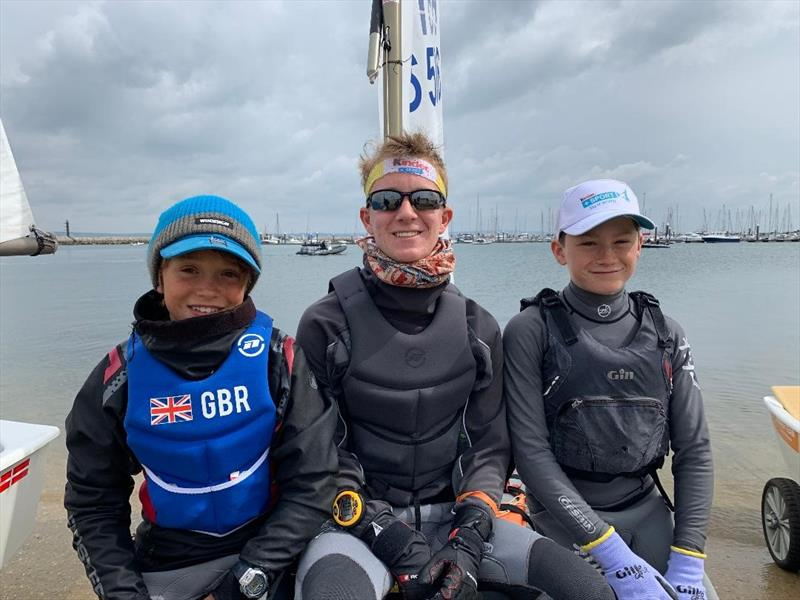 Santiago Sesto-Cosby, Ben Mueller and Henry Heathcote, in the top-10 at selection trials making Europeans and Worlds Teams as well as the GBR team for the International Optimist Team Racing Trophy in Venice - photo © IOCA UK