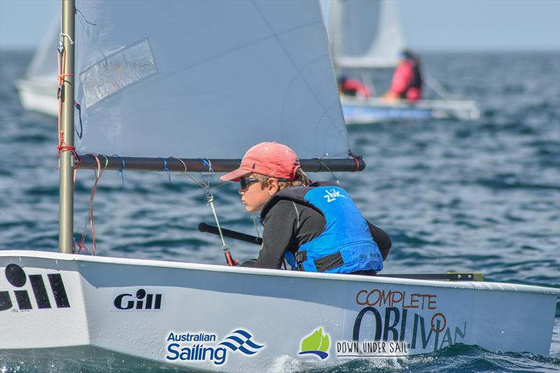 Ian Irwin racing in the Optimist Open fleet - 2018 South Australian Youth Championships - photo © Harry Fisher