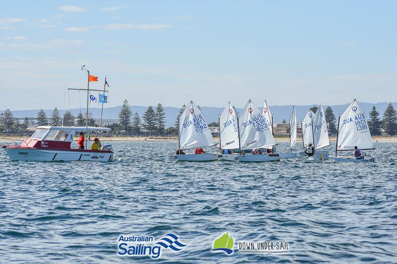 Optimist racing was close on day one - 2018 South Australian Youth Championships - photo © Harry Fisher