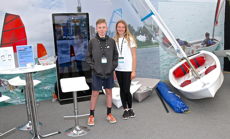 Emma and Luc with the O-Pro at the On the Water Boatshow - photo © Richard Gladwell