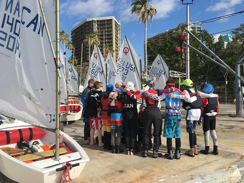 Pre-race huddle at the 2018 Miami Sailing Week - photo © Image courtesy of Miami Sailing Week