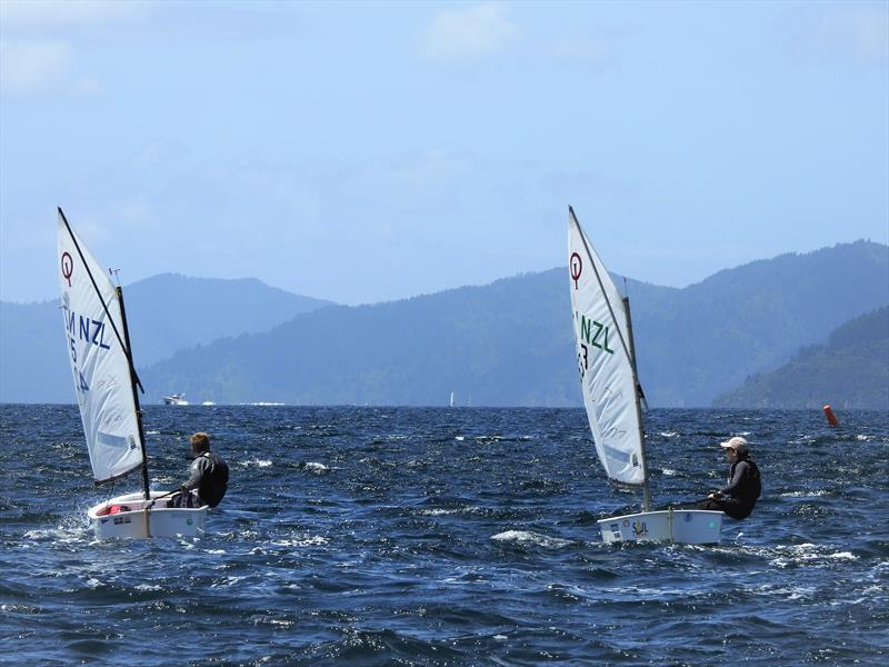 Moss Hopkins (left) and Louie Poletti (right) - Open fleet Optimist - photo © Queen Charlotte Yacht Club