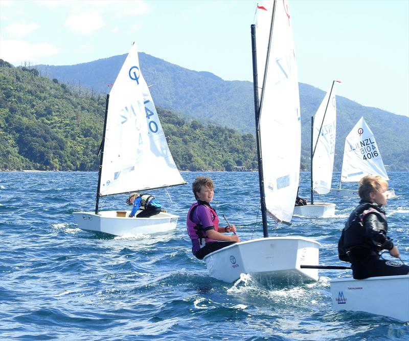 Eden Amos (left) and Fin Stichbury (right) - Open fleet Optimist - Queen Charlotte Yacht Club - photo © Queen Charlotte Yacht Club