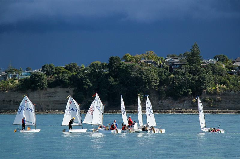 The Australian team congregate - 2019 Toyota NZ Optimist Nationals Day 5, April 2019 - Murrays Bay SC - photo © Richard Gladwell