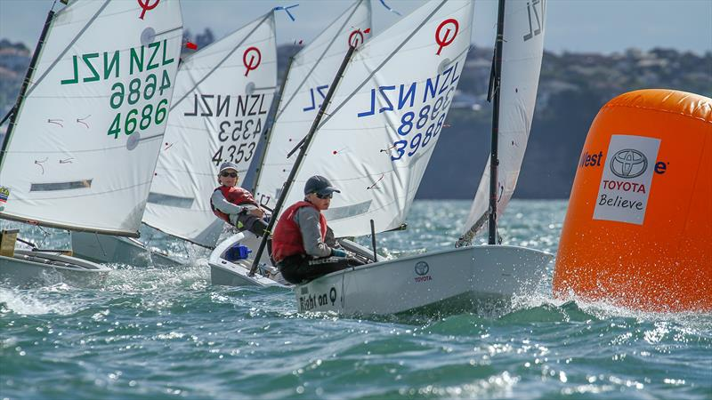 Silver fleet round the windward mark - Day 6 - 2019 Toyota New Zealand Optimist National Championships, Murrays Bay, April 2019 - photo © Richard Gladwell