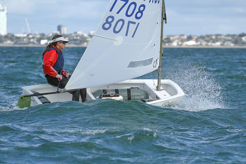 Scarlett Zerbe (AUS) (Royal Brighton YC) Top female and third overall - Silver fleet- Day 6 - 2019 Toyota New Zealand Optimist National Championships, Murrays Bay, April 2019 - photo © Richard Gladwell