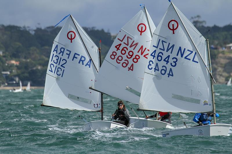 Silver fleet - downwind leg- Day 6 - 2019 Toyota New Zealand Optimist National Championships, Murrays Bay, April 2019 - photo © Richard Gladwell