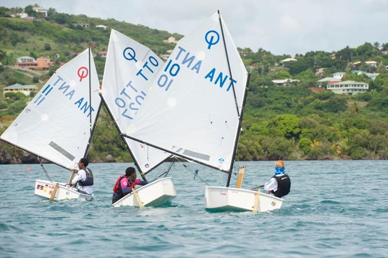 The Optimist fleet in Falmouth Harbour - 2019 Caribbean Dinghy Championships - photo © Ted Martin / Antigua Photography