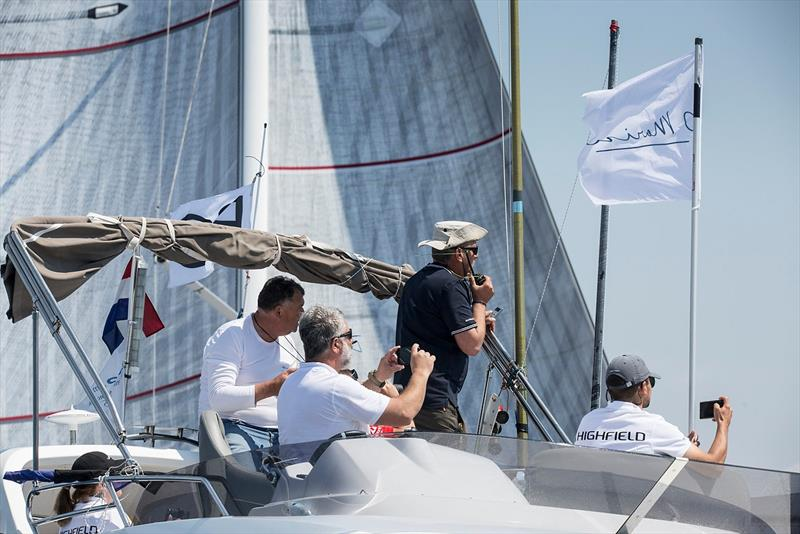 PRO Denis Marinov and the start line team in action today producing two clean starts for the 46 boats in Class B - 2019 D-Marin ORC World Championship - photo © JK Val