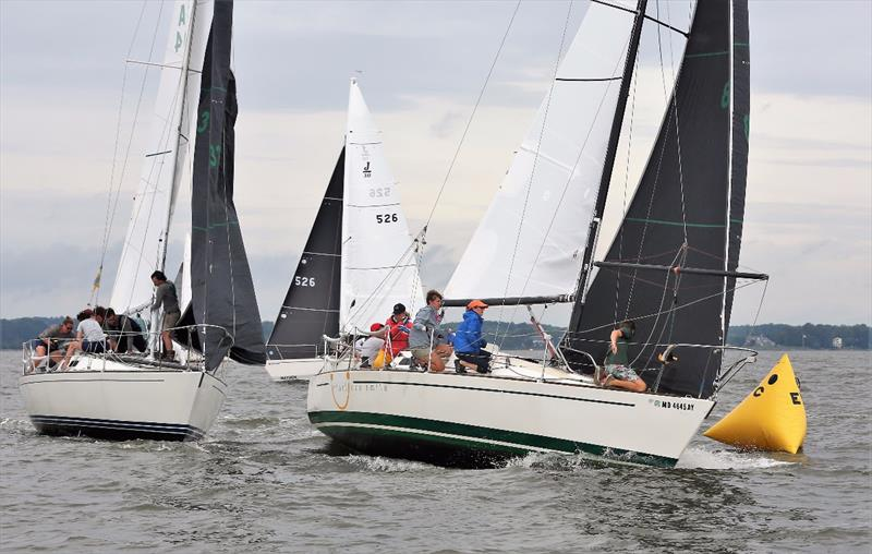 J/30s rounding the mark - 2020 Helly Hansen NOOD Regatta Annapolis - photo © Will Keyworth