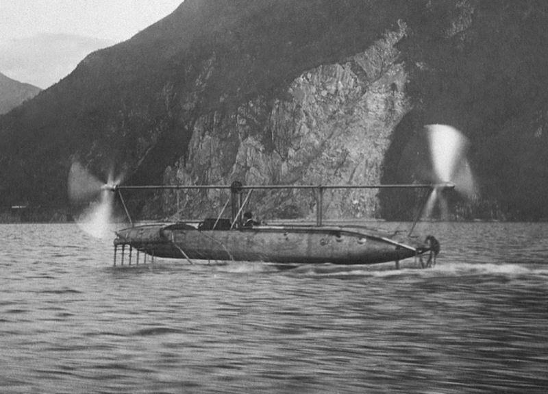 Enrico Forlanini demonstrating his foiler on Lake Maggiore, though in proving the effectiveness of the principles the safety aspects of his hydrofoil made one shudder today! - photo © Archive