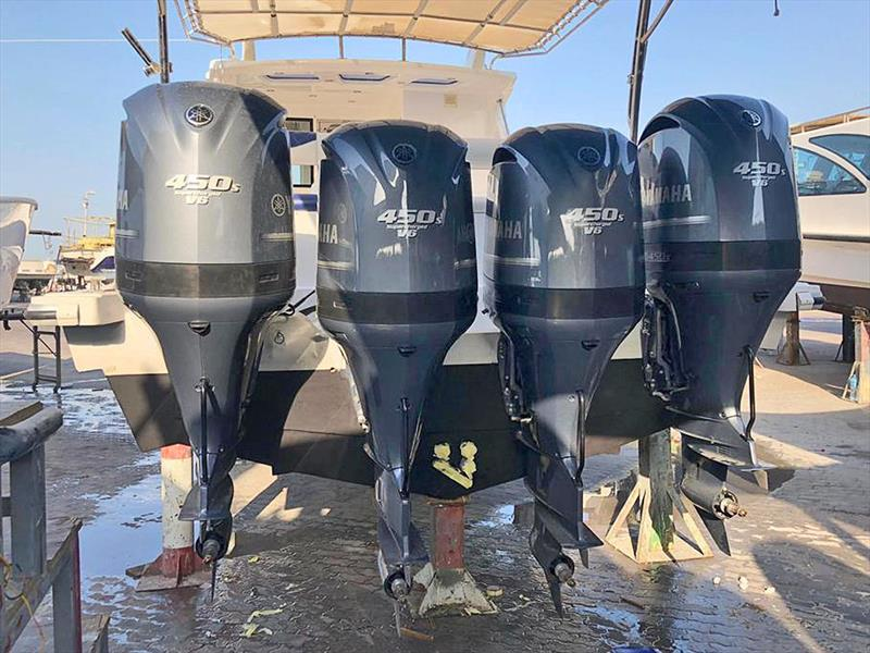 Finalising installation of the four Nizpro Marine 450s outboards on the Al Hareb Marine 56-footer. photo copyright Al Murzem Trading  taken at  and featuring the Power boat class