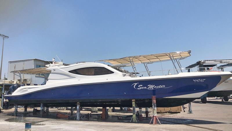 Al Hareb Marine 56-footer about to be transformed by Nizpro Marine's 450s outboards - photo © Al Murzem Trading