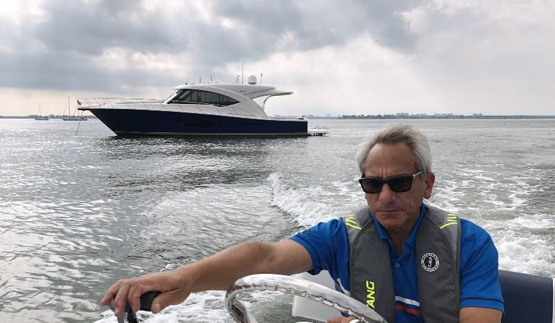 Gary, Long Island Sound, Great Neck, NY. Anchored offshore and taking the tender to visit Ellen's father. photo copyright Riviera taken at  and featuring the Power boat class