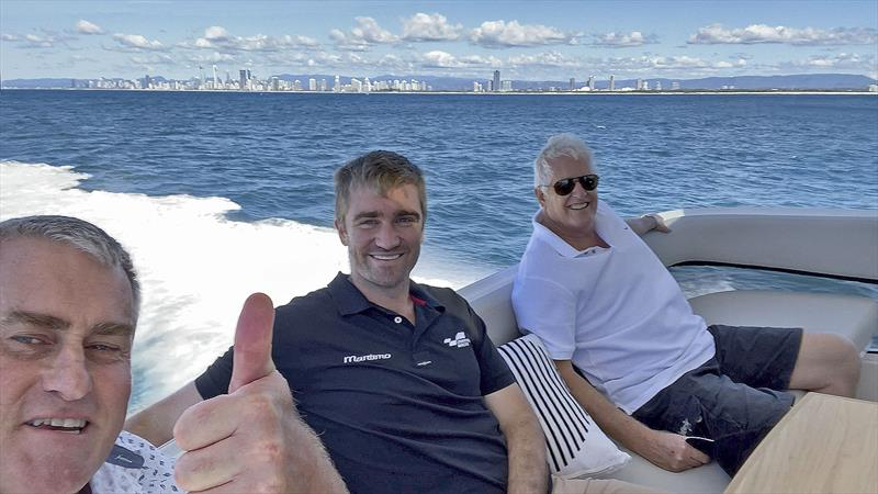 Enjoying great times and supreme weather offshore of the Gold Coast aboard Maritimo's new M55 - LtoR John Curnow, Tom Barry-Cotter, and Paul Wilson. - photo © John Curnow