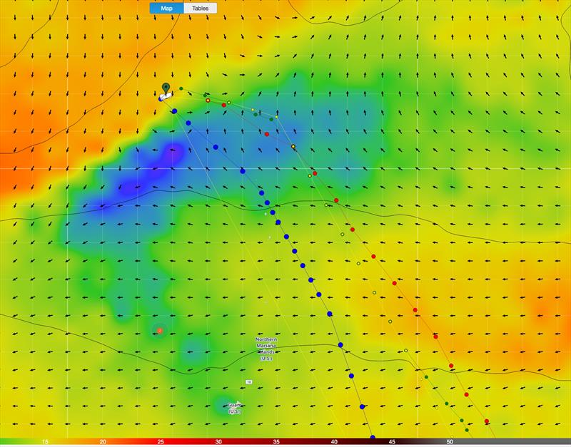 Routing around light wind patch - ECMWF and GFS feeds (used on board the VOR boats - photo © Predictwind.com