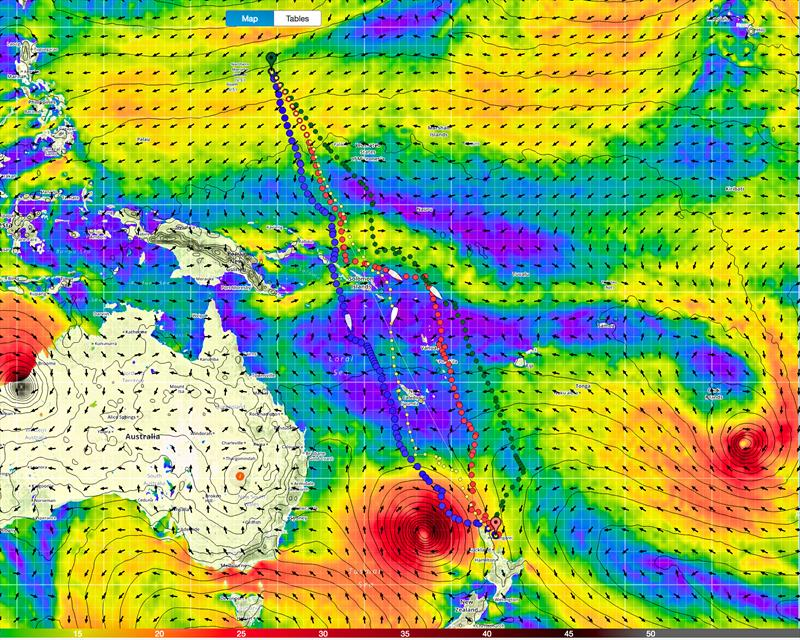 The Sea of Frustration (purple indicating winds of less than 5kts) craeted by two cyclones passing through the SW Pacific ahead of the Volvo Ocean Race Fleet on Leg 6 - photo © Predictwind.com