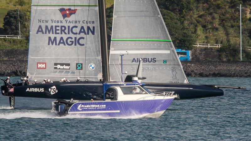 The Predictwind work boat accompanies American Magic - Waitemata Harbour - September 25, 2020 - 36th America's Cup - photo © Richard Gladwell - Sail-World.com / nz