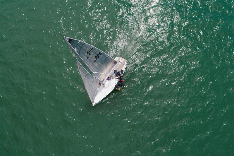 Ariel shot of Niall Dowlings Per Elisa competing in the Quarter Ton Cup photo copyright Waterline Media taken at  and featuring the Quarter Tonner class