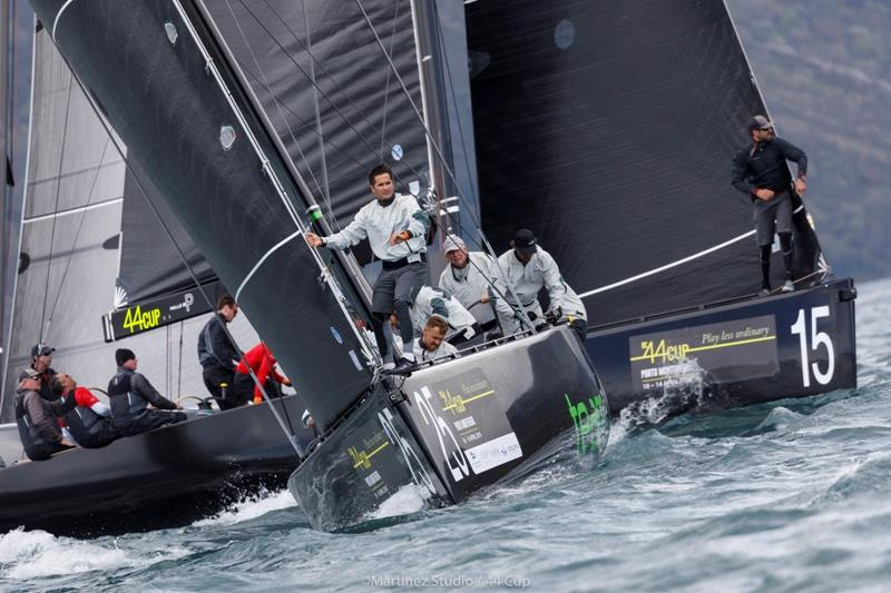 Team Aqua lines up for the start - photo © Martinez Studio / RC44 Class