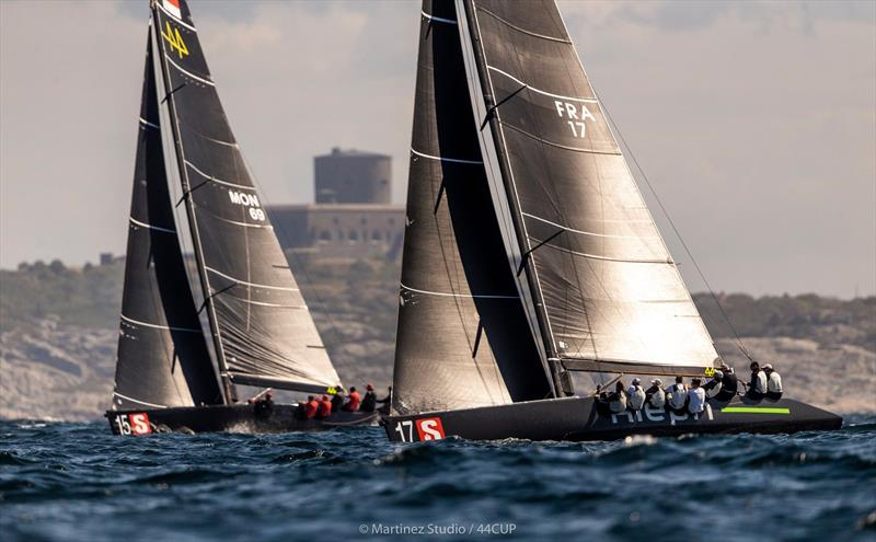 Overall winner after day 1 - Aleph Racing leads Nico Poons' Charisma up the beat - 44Cup Marstrand World Championship 2019 - photo © Pedro Martinez / Martinez Studio