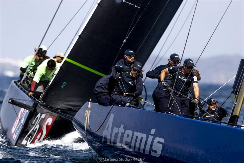 Artemis Racing leads Team Aqua into the top mark - Final Day - 44Cup World Championship 2019 - photo © Pedro Martinez / Martinez Studio