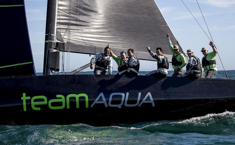 Chris Bake and the victorious crew of Team Aqua - 44Cup Cascais - photo © Pedro Martinez / Martinez Studio