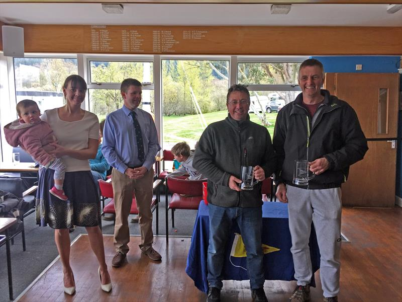 Great North Asymmetric Challenge overall winners Richard Catchpole and Gary Coop presented with prizes by Alistar Duncan of Bass and Naomi Smith, Bass Commodore photo copyright William Carruthers taken at Bassenthwaite Sailing Club and featuring the RS400 class
