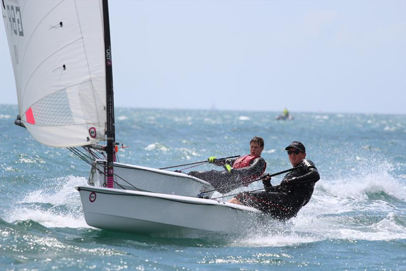 Toby Freeland leads Ben Rolfe on day 1 of the Carnac RS Aero Worlds 2017 - photo © Steve Greenwood