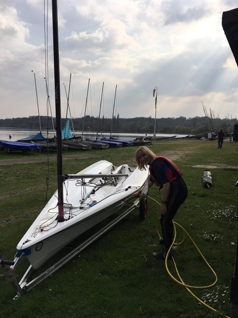 A good hosing of boats, trolleys and wheels limits the chances of spread of invasive species between our inland waters photo copyright Broadwater Sailing Club taken at Broadwater Sailing Club and featuring the RS Aero class