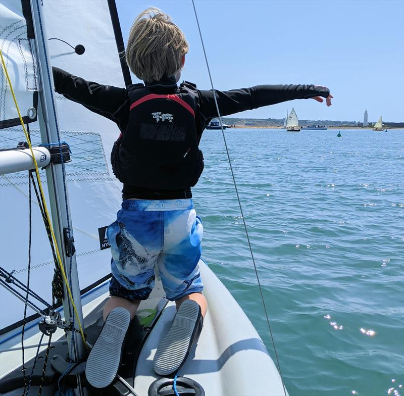 Kids loving the RS Feva photo copyright Mark Jardine taken at Keyhaven Yacht Club and featuring the RS Feva class