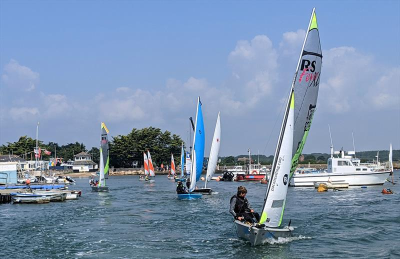 Juniors racing down the river soon after their start at Keyhaven Week - photo © Mark Jardine