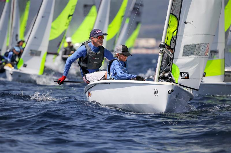 Overall leaders Simon Cooke and Oskar Masfen (NZL)  - Day 3 of the 2019 RS Feva World Championships, Follonica Bay, Italy - photo © Elena Giolai / Fraglia Vela Riva