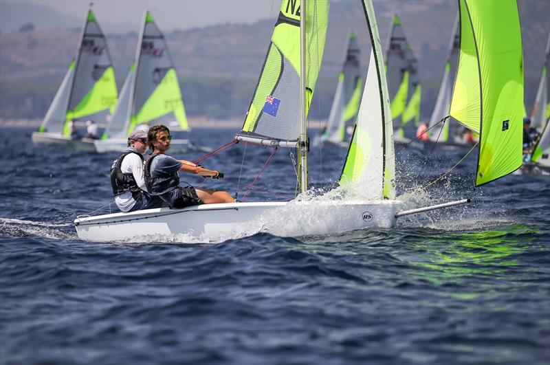Blake Hinsley and Nicholas Drummond (NZL) - Day 3 of the 2019 RS Feva World Championships, Follonica Bay, Italy - photo © Elena Giolai / Fraglia Vela Riva