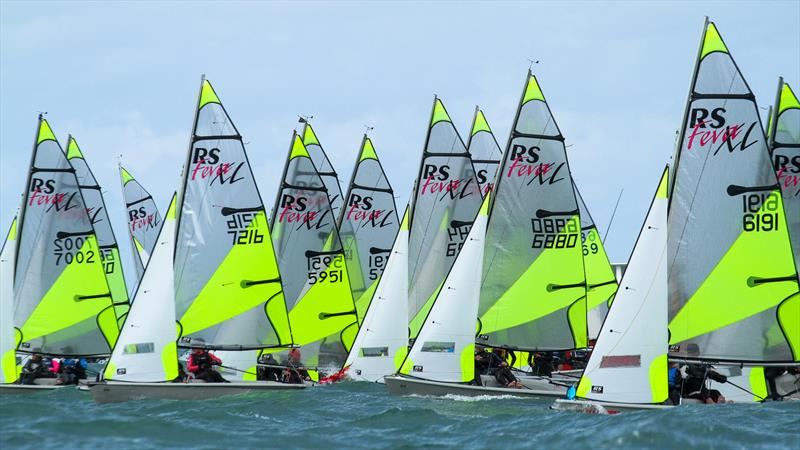 Distinctively coloured RS Feva makes for safety as well as being attractive - RS Feva Nationals, Torbay SC, March 2019 - photo © Richard Gladwell