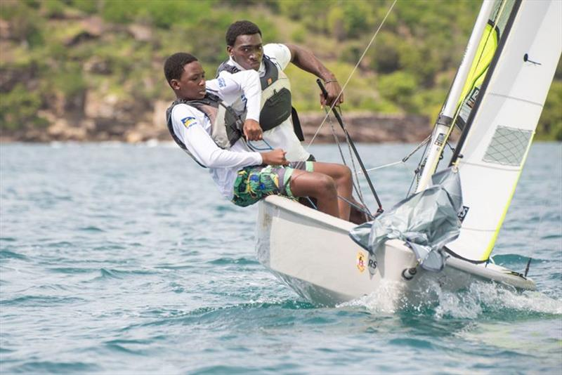 Mauriceson Valentine and Nahio James, sinners in the RS Feva Class - 2019 Caribbean Dinghy Championships photo copyright Ted Martin / Antigua Photography taken at Antigua Yacht Club and featuring the RS Feva class