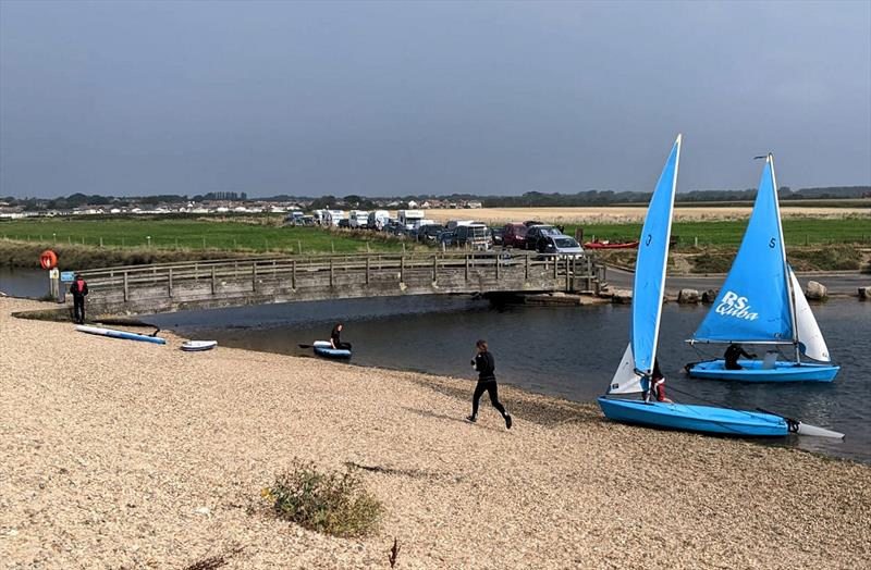 Racing to a check point during the Keyhaven Treasure Hunt - photo © Kerry-Ann Jardine